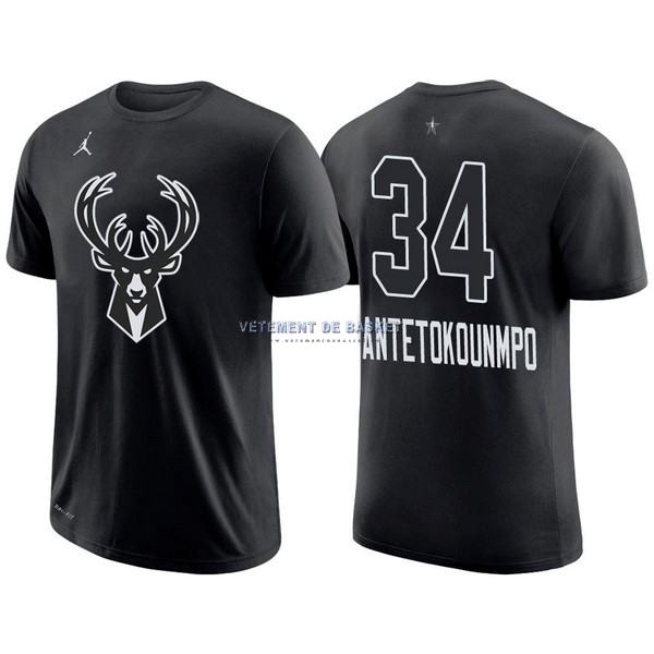 Maillot NBA 2018 All Star Manche Courte NO.34 Giannis Antetokounmpo Noir