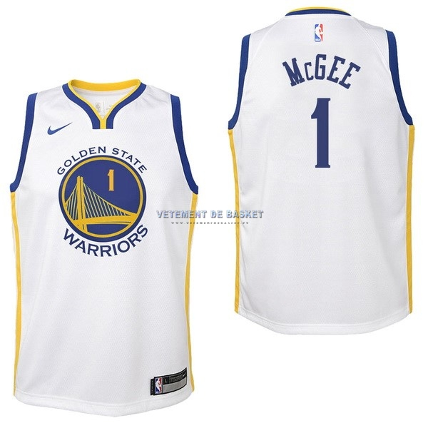 Maillot NBA Enfant Golden State Warriors NO.1 JaVale McGee Blanc Association 2017-18
