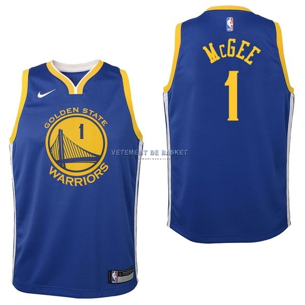Maillot NBA Enfant Golden State Warriors NO.1 JaVale McGee Bleu Icon 2017-18