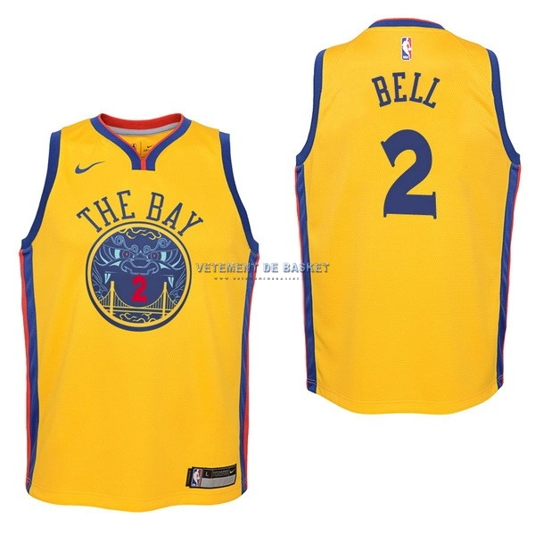 Maillot NBA Enfant Golden State Warriors NO.2 Jordan Bell Nike Jaune Ville 2017-18