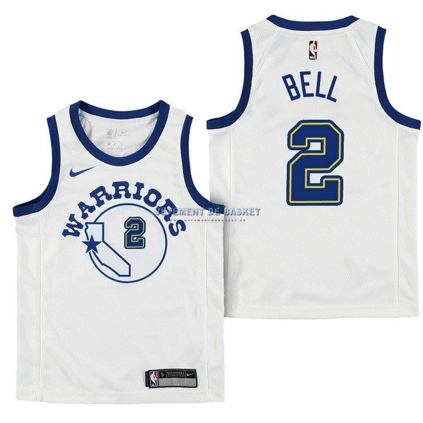 Maillot NBA Enfant Golden State Warriors NO.2 Jordan Bell Nike Retro Blanc 2017-18