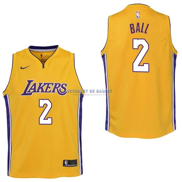 Maillot NBA Enfant Los Angeles Lakers NO.2 Lonzo Ball Jaune Icon 2017-18