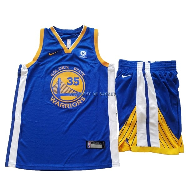 Maillot NBA Ensemble Complet Enfant Golden State Warriors NO.35 Kevin Durant Bleu 2017-18