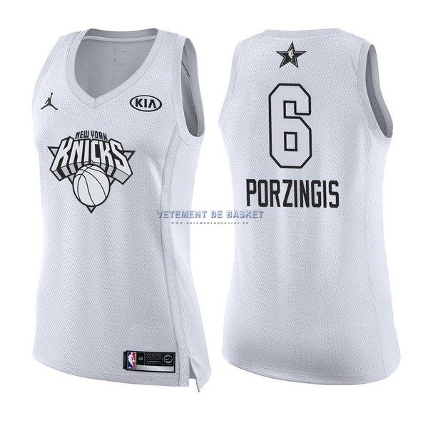 Maillot NBA Femme 2018 All Star NO.6 Kristaps Porzingis Blanc