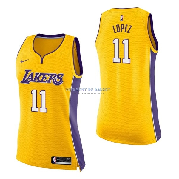 Maillot NBA Femme Los Angeles Lakers NO.11 Brook Lopez Jaune Icon