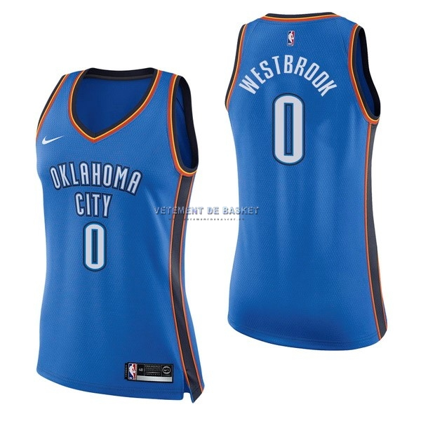 Maillot NBA Femme Oklahoma City Thunder NO.0 Russell Westbrook Bleu Icon