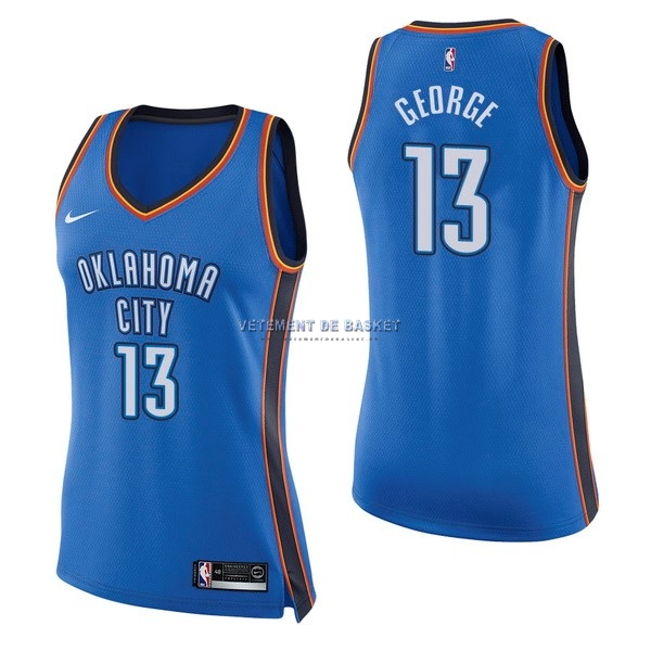 Maillot NBA Femme Oklahoma City Thunder NO.13 Paul George Bleu Icon