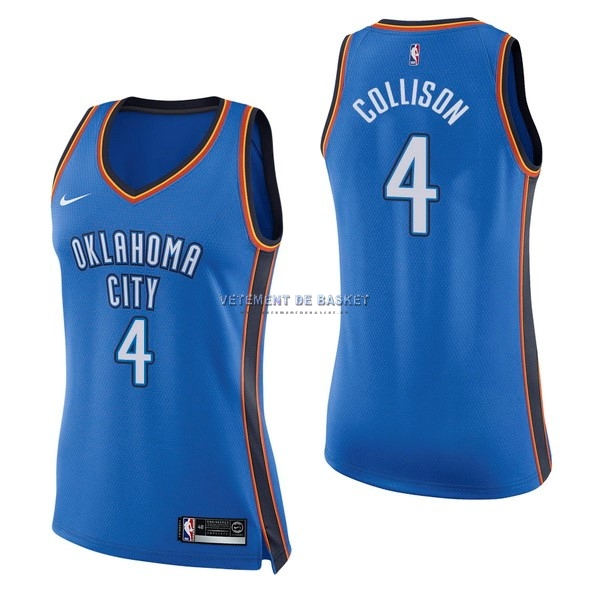 Maillot NBA Femme Oklahoma City Thunder NO.4 Nick Collison Bleu Icon