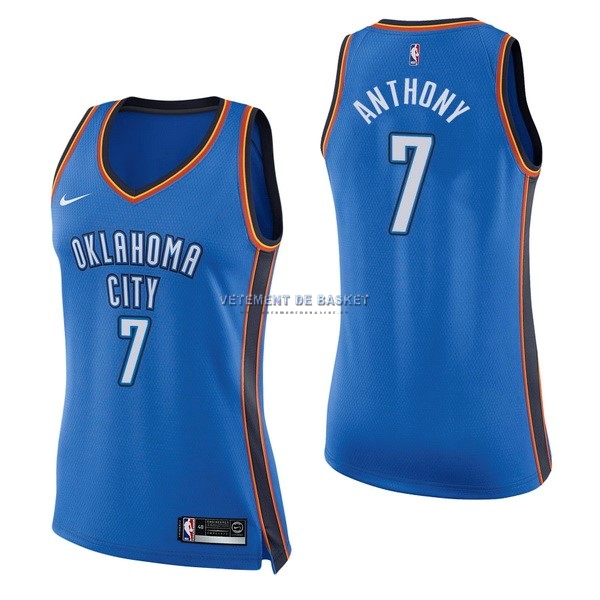 Maillot NBA Femme Oklahoma City Thunder NO.7 Carmelo Anthony Bleu Icon