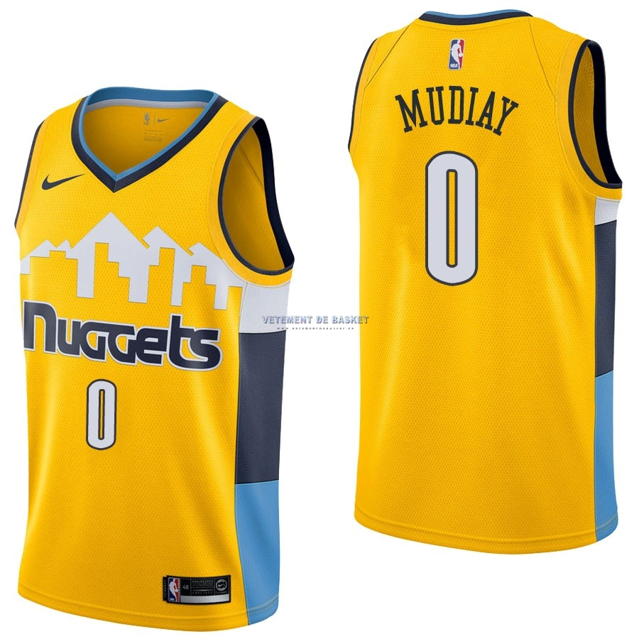Maillot NBA Nike Denver Nuggets NO.0 Emmanuel Mudiay Jaune Statement