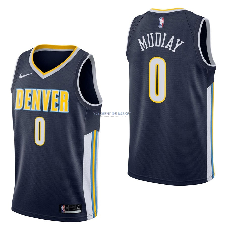 Maillot NBA Nike Denver Nuggets NO.0 Emmanuel Mudiay Marine Icon