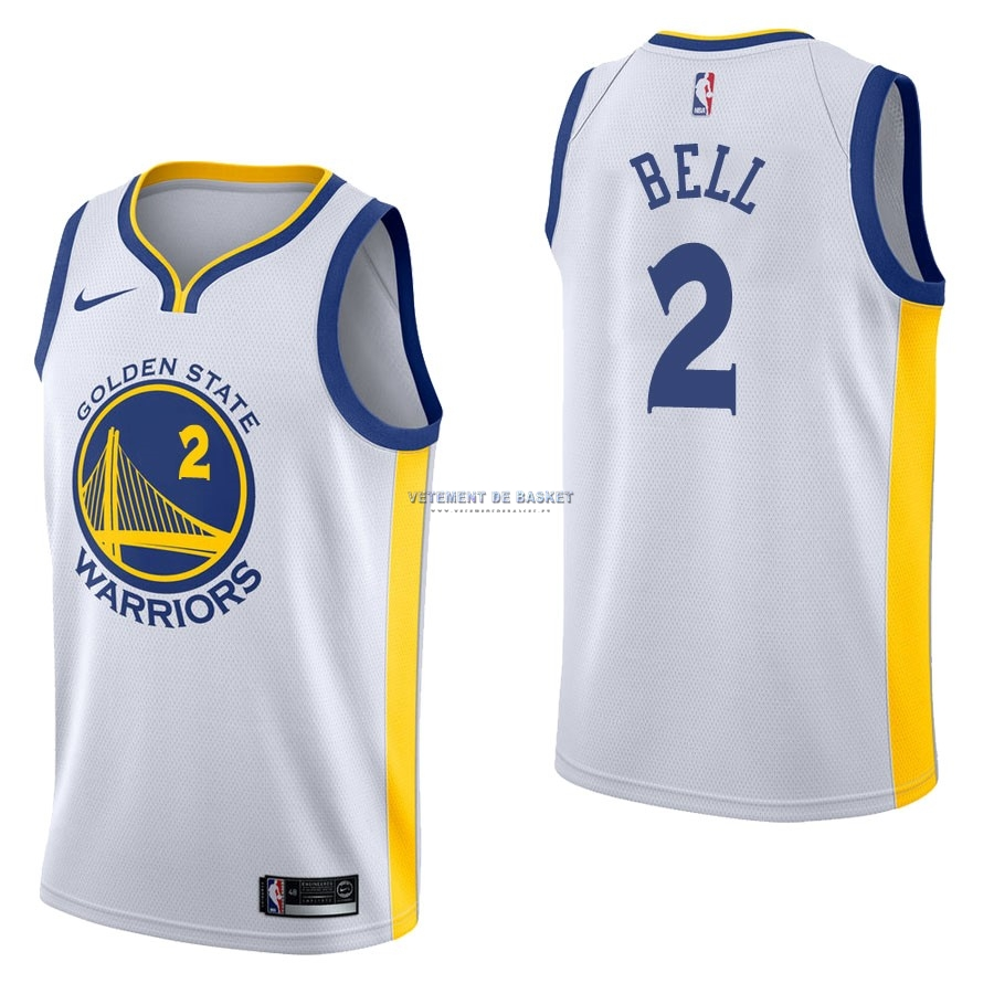Maillot NBA Nike Golden State Warriors NO.2 Jordan Bell Blanc Association