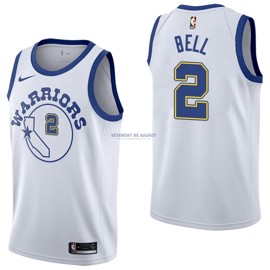 Maillot NBA Nike Golden State Warriors NO.2 Jordan Bell Nike Retro Blanc