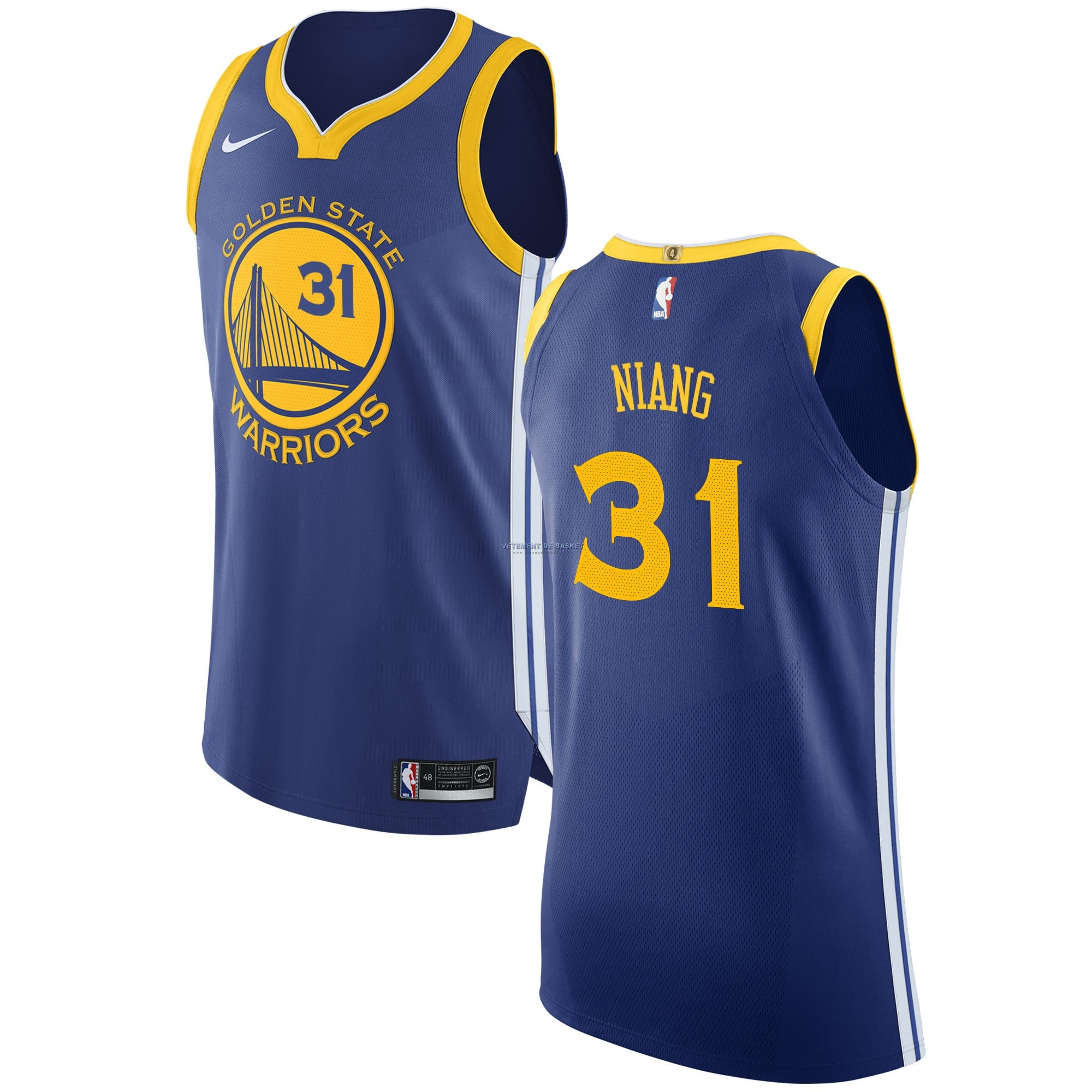 Maillot NBA Nike Golden State Warriors NO.31 Georges Niang Bleu Icon