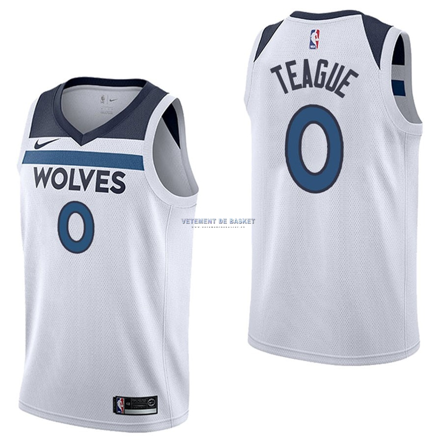 Maillot NBA Nike Minnesota Timberwolves NO.0 Jeff Teague Blanc Association
