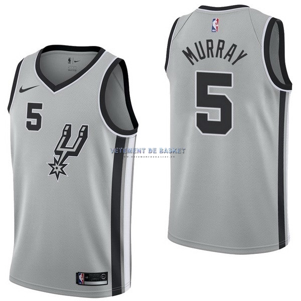 Maillot NBA Nike San Antonio Spurs NO.5 Dejounte Murray Gris Statement
