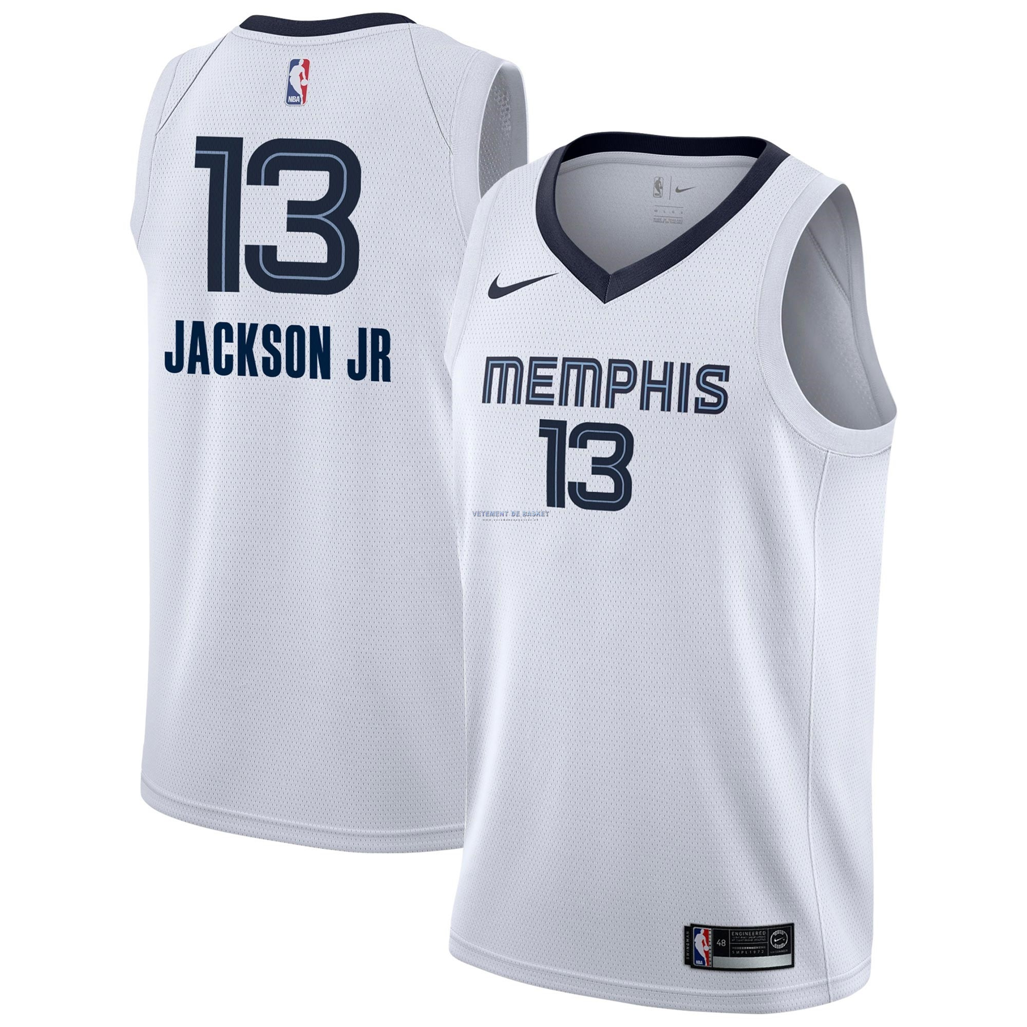 Maillot NBA Nike Memphis Grizzlies NO.13 Jaren Jackson Jr Blanc Association 2018-19