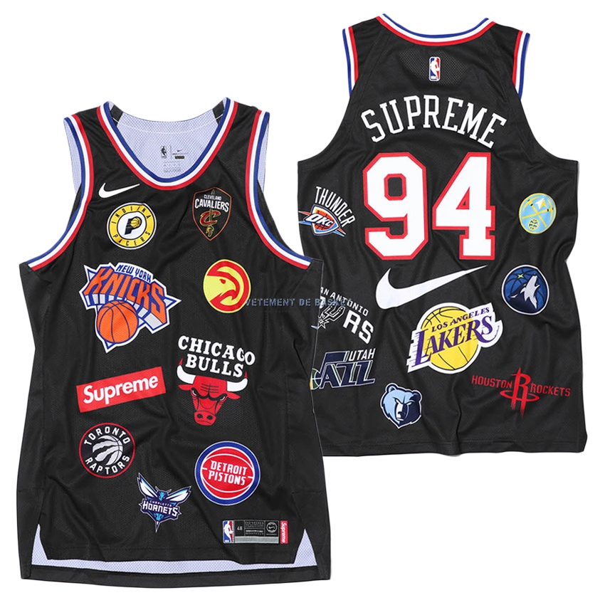 Maillot Collaboration Maillot Basket-ball Supreme x Nike #94 Logo Noir