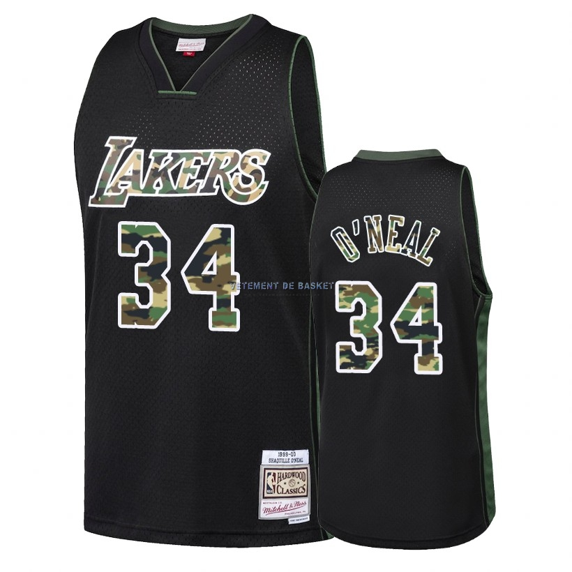 Maillot NBA Camo Feu Droit Los Angeles Lakers NO.34 Shaquille O'Neal Noir 2018