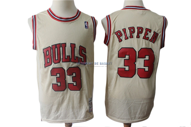 Maillot NBA Chicago Bulls NO.33 Scottie Pippen Retro Crème