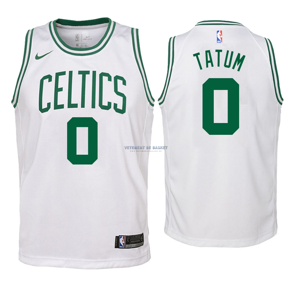 Maillot NBA Enfant Boston Celtics NO.0 Jayson Tatum Blanc Association 2018