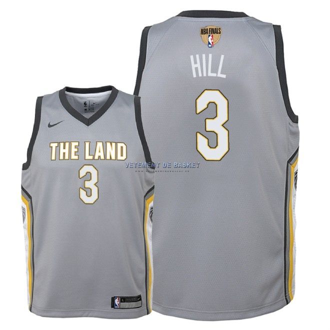 Maillot NBA Enfant Cleveland Cavaliers 2018 Final Champions NO.3 George Hill Nike Gris Ville Patch