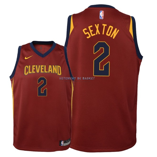Maillot NBA Enfant Cleveland Cavaliers NO.2 Collin Sexton Rouge Icon 2018