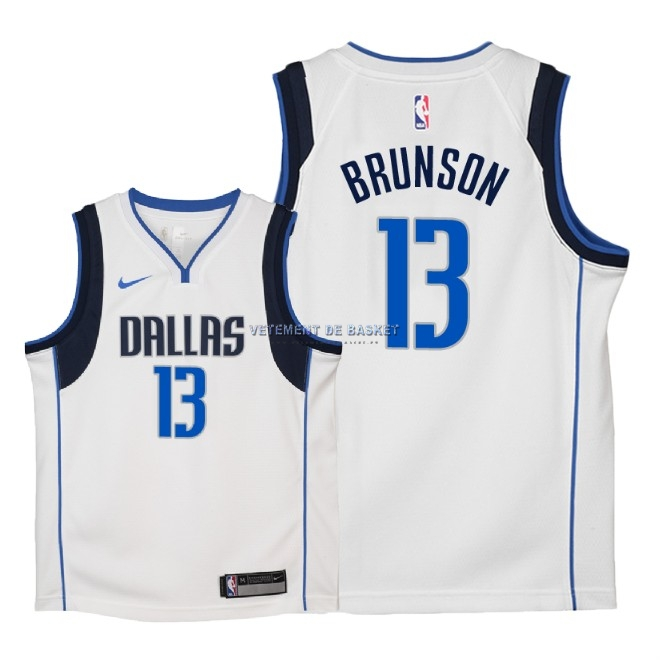 Maillot NBA Enfant Dallas Mavericks NO.13 Jalen Brunson Blanc Association 2018