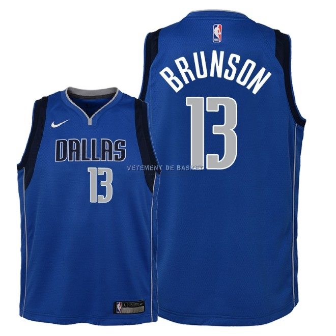 Maillot NBA Enfant Dallas Mavericks NO.13 Jalen Brunson Bleu Icon 2018