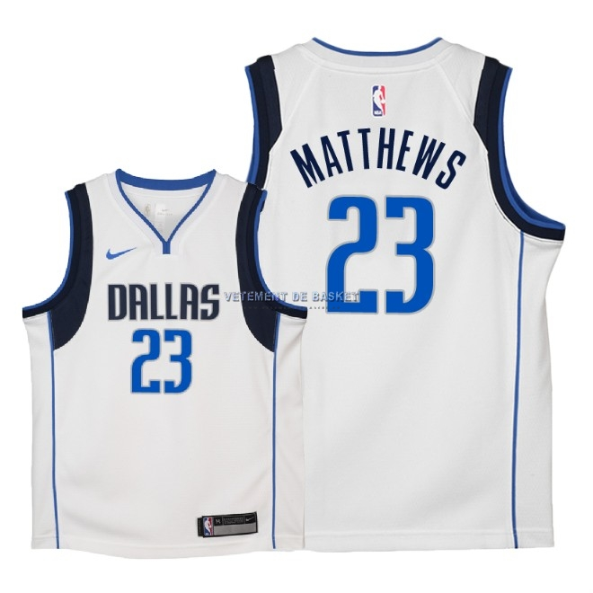 Maillot NBA Enfant Dallas Mavericks NO.23 Wesley Matthews Blanc Association 2018