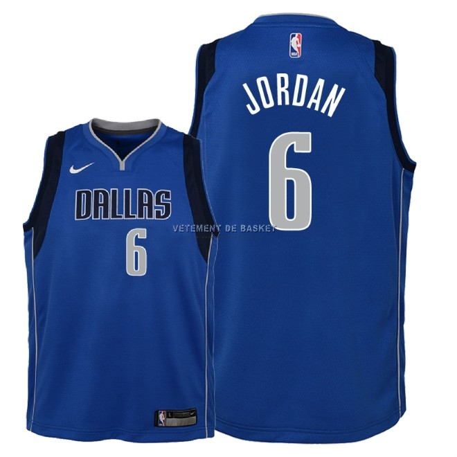 Maillot NBA Enfant Dallas Mavericks NO.6 DeAndre Jordan Bleu Icon 2018