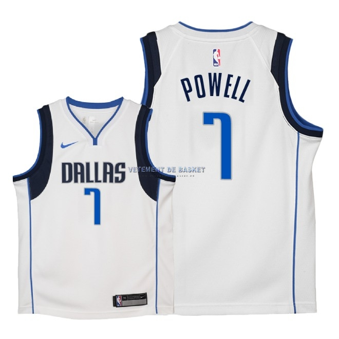 Maillot NBA Enfant Dallas Mavericks NO.7 Dwight Powell Blanc Association 2018