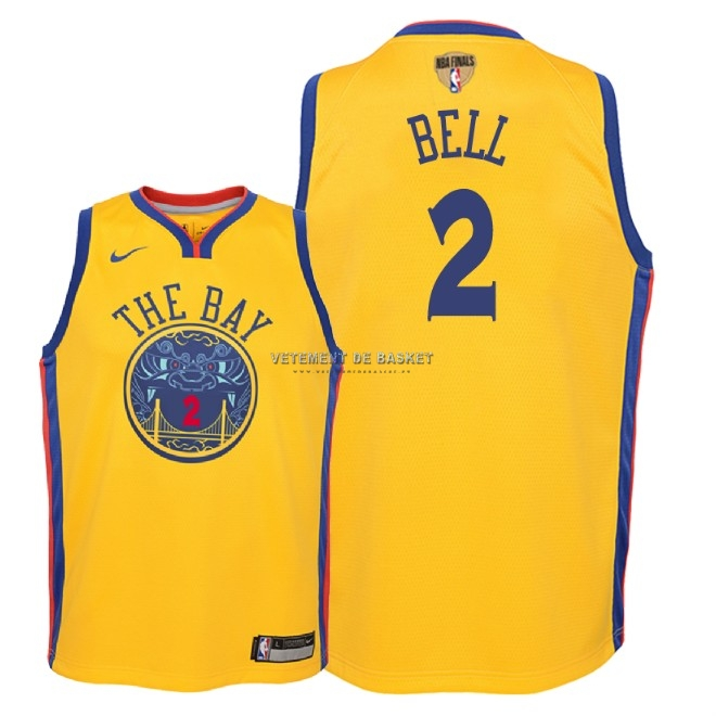 Maillot NBA Enfant Golden State Warriors 2018 Final Champions NO.2 Jordan Bell Nike Jaune Ville Patch