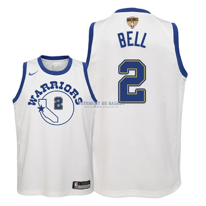 Maillot NBA Enfant Golden State Warriors 2018 Final Champions NO.2 Jordan Bell Nike Retro Blanc Patch