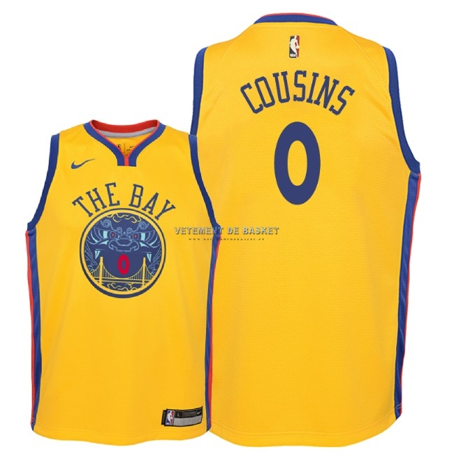Maillot NBA Enfant Golden State Warriors NO.0 DeMarcus Cousins Nike Jaune Ville 2018