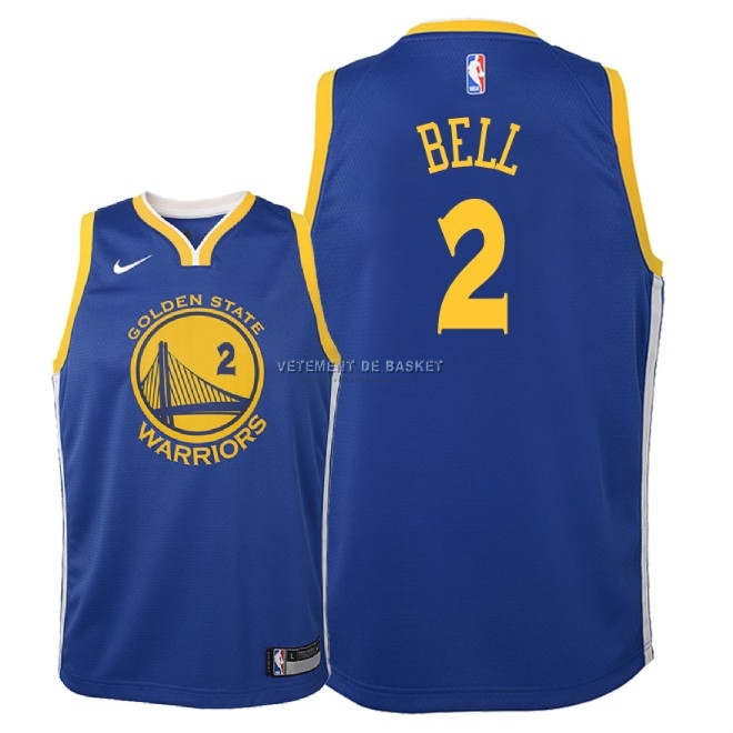 Maillot NBA Enfant Golden State Warriors NO.2 Jordan Bell Bleu Icon 2018