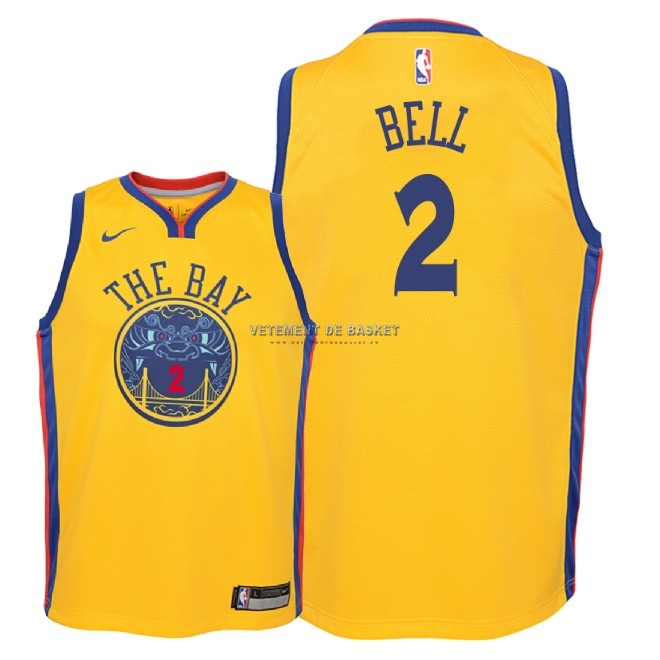 Maillot NBA Enfant Golden State Warriors NO.2 Jordan Bell Nike Jaune Ville 2018