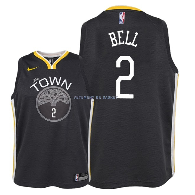 Maillot NBA Enfant Golden State Warriors NO.2 Jordan Bell Noir Statement 2018