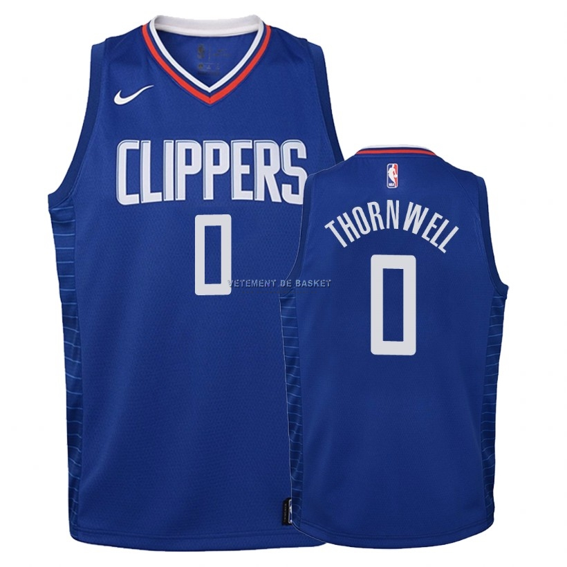 Maillot NBA Enfant Los Angeles Clippers NO.0 Sindarius Thornwell Bleu Icon 2018