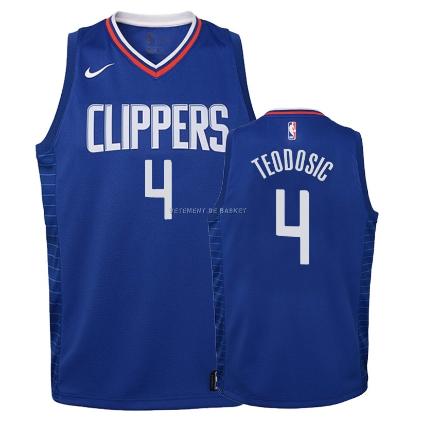 Maillot NBA Enfant Los Angeles Clippers NO.4 Milos Teodisic Bleu Icon 2018