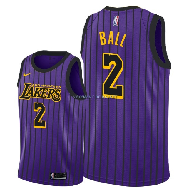 Maillot NBA Enfant Los Angeles Lakers NO.2 Lonzo Ball Nike Pourpre Ville 2018-19