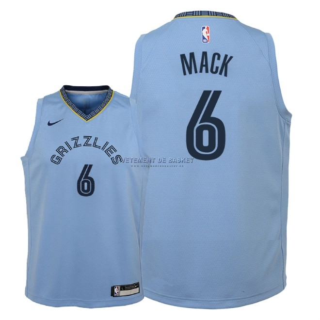 Maillot NBA Enfant Memphis Grizzlies NO.6 Shelvin Mack Bleu Statement 2018-19