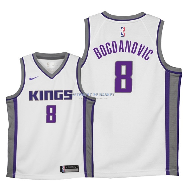 Maillot NBA Enfant Sacramento Kings NO.8 Bogdan Bogdanovic Blanc Association 2018