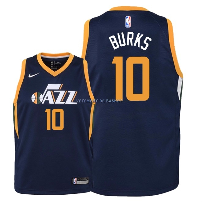 Maillot NBA Enfant Utah Jazz NO.10 Alec Burks Marine Icon 2018