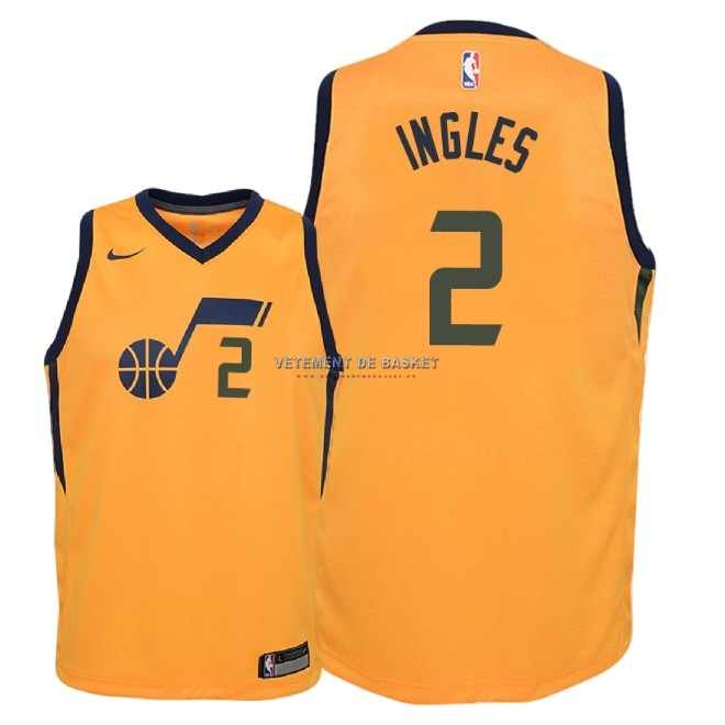 Maillot NBA Enfant Utah Jazz NO.2 Joe Ingles Jaune Statement 2018