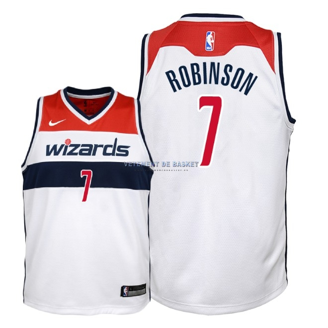 Maillot NBA Enfant Washington Wizards NO.7 Devin Robinson Blanc Association 2018