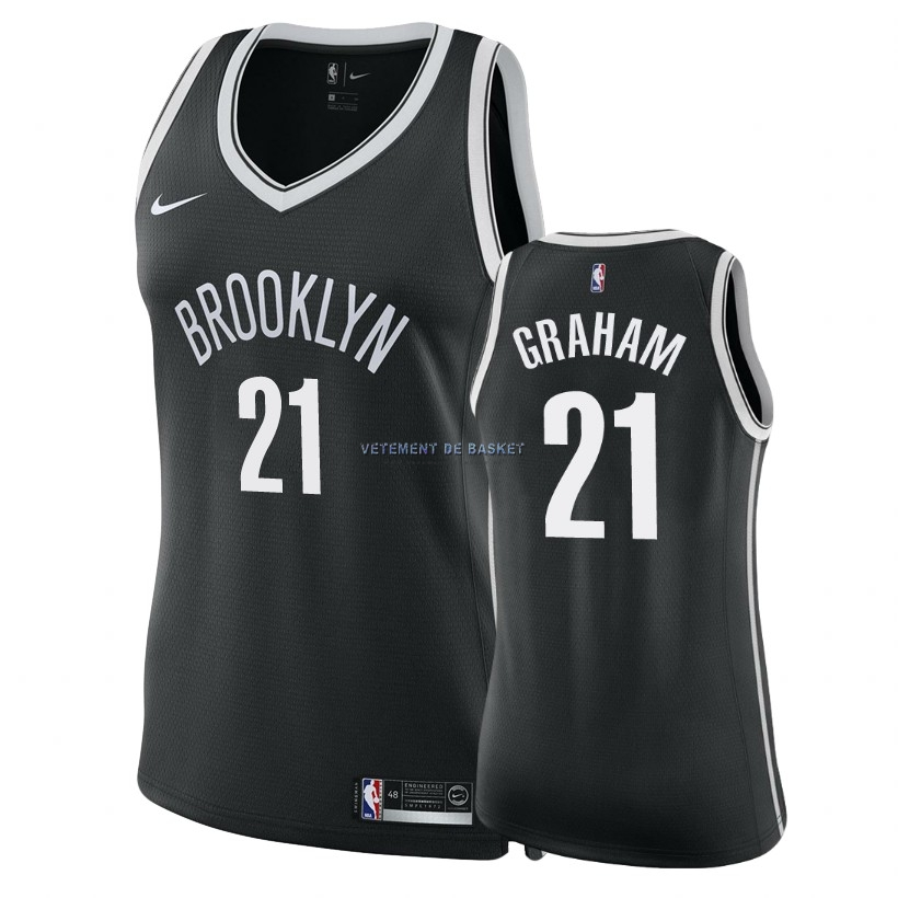 Maillot NBA Femme Brooklyn Nets NO.21 Treveon Graham Noir Icon 2018