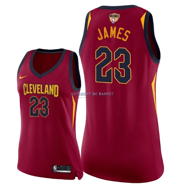 Maillot NBA Femme Cleveland Cavaliers 2018 Final Champions NO.23 LeBron James Rouge Icon Patch