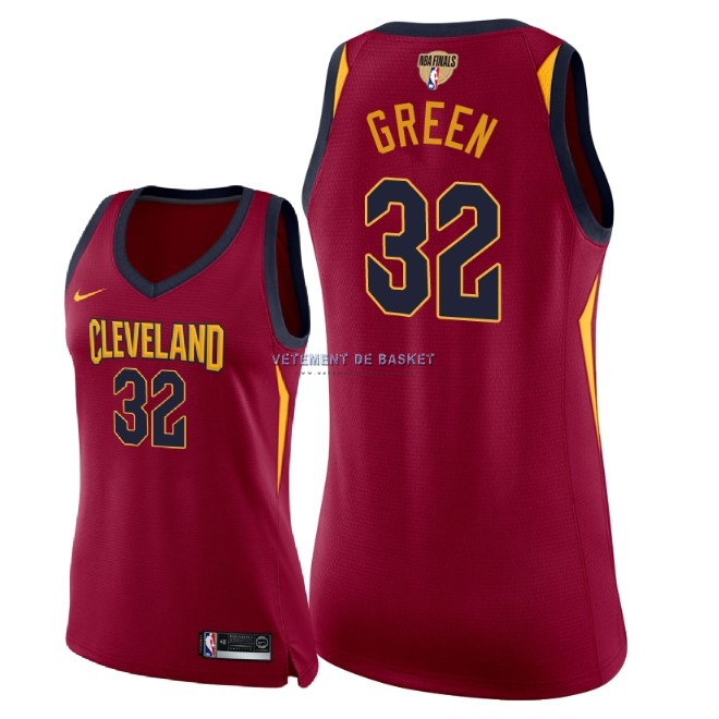Maillot NBA Femme Cleveland Cavaliers 2018 Final Champions NO.32 Jeff Green Rouge Icon Patch