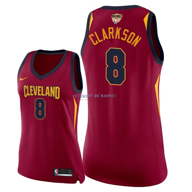 Maillot NBA Femme Cleveland Cavaliers 2018 Final Champions NO.8 Jordan Clarkson Rouge Icon Patch